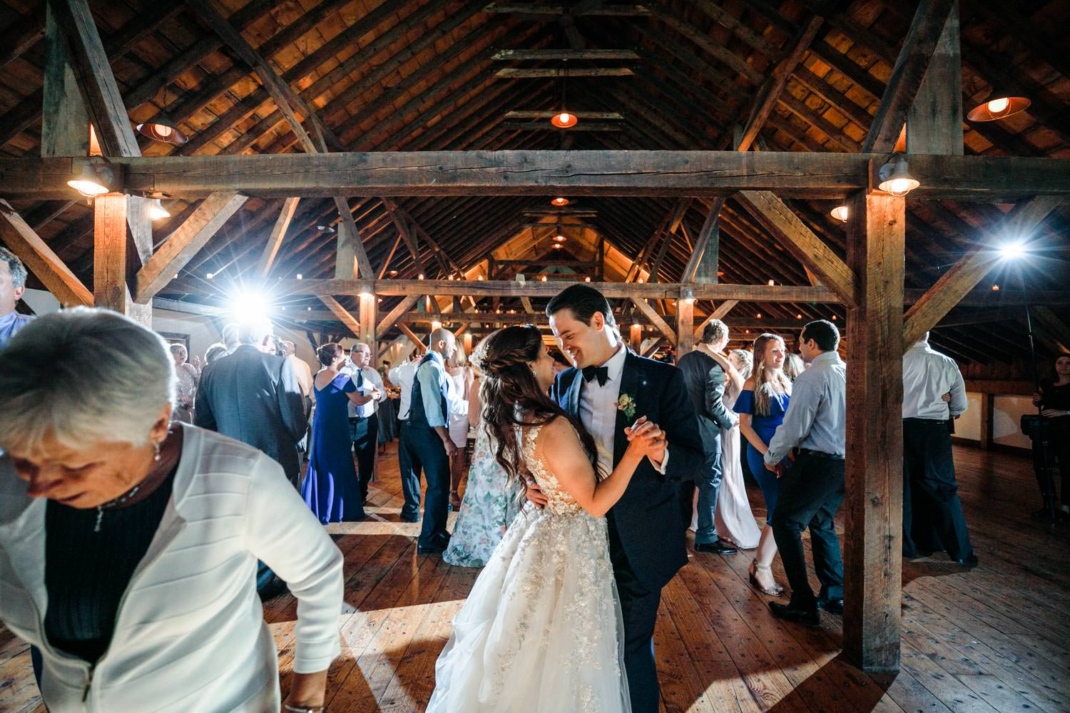 wedding couple's fist dance at riverside farm vermont
