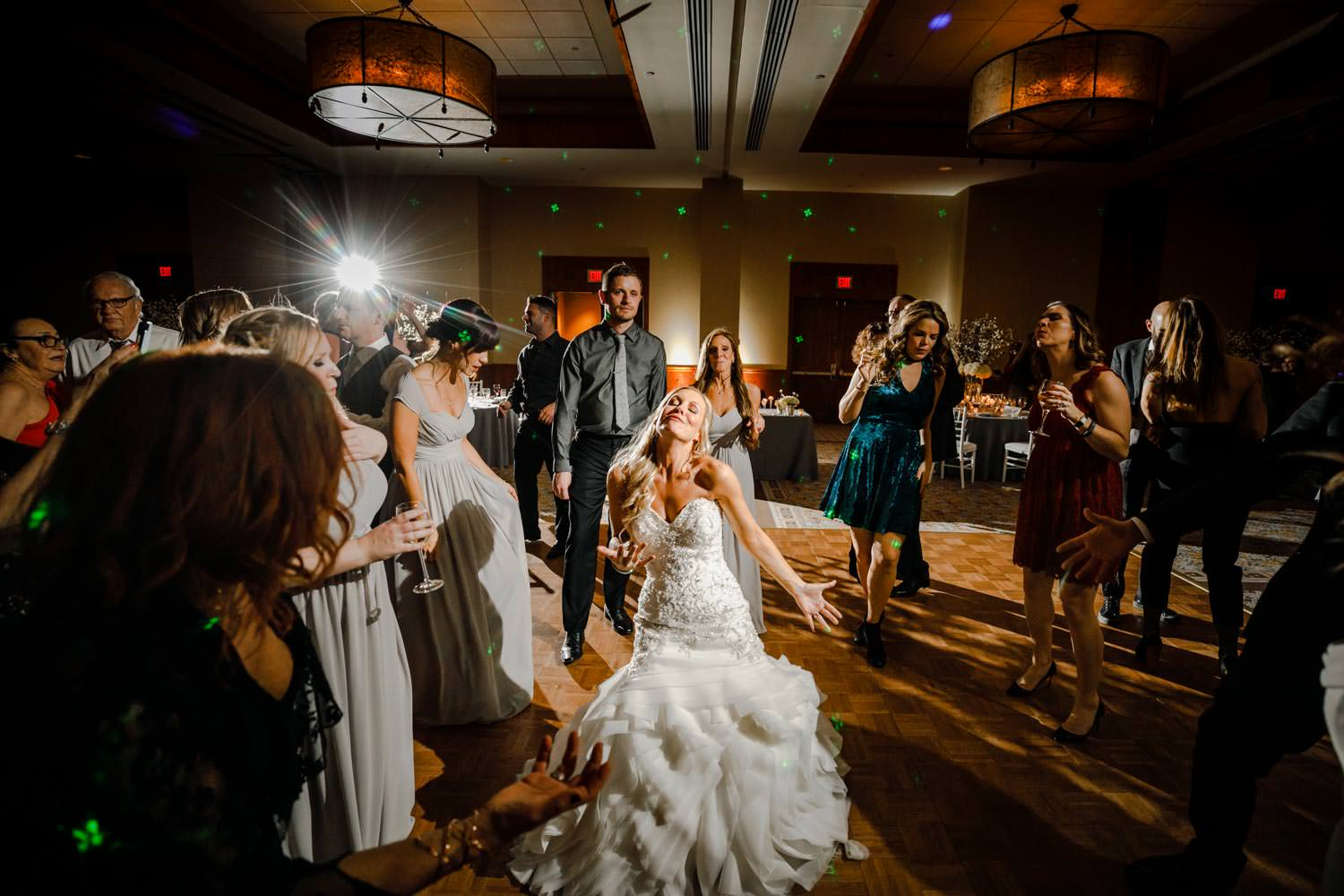 bride on dance floor at wedding reception