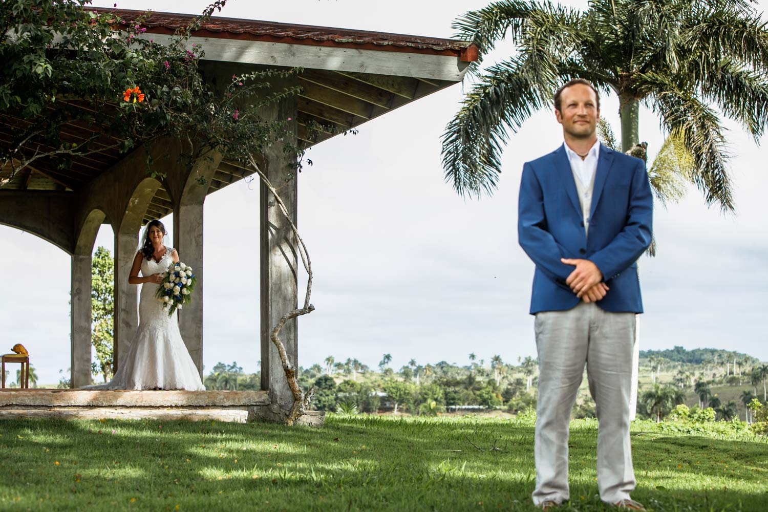 wedding photographer sets up first look at Castle Club in Cabarete Dominican Republic