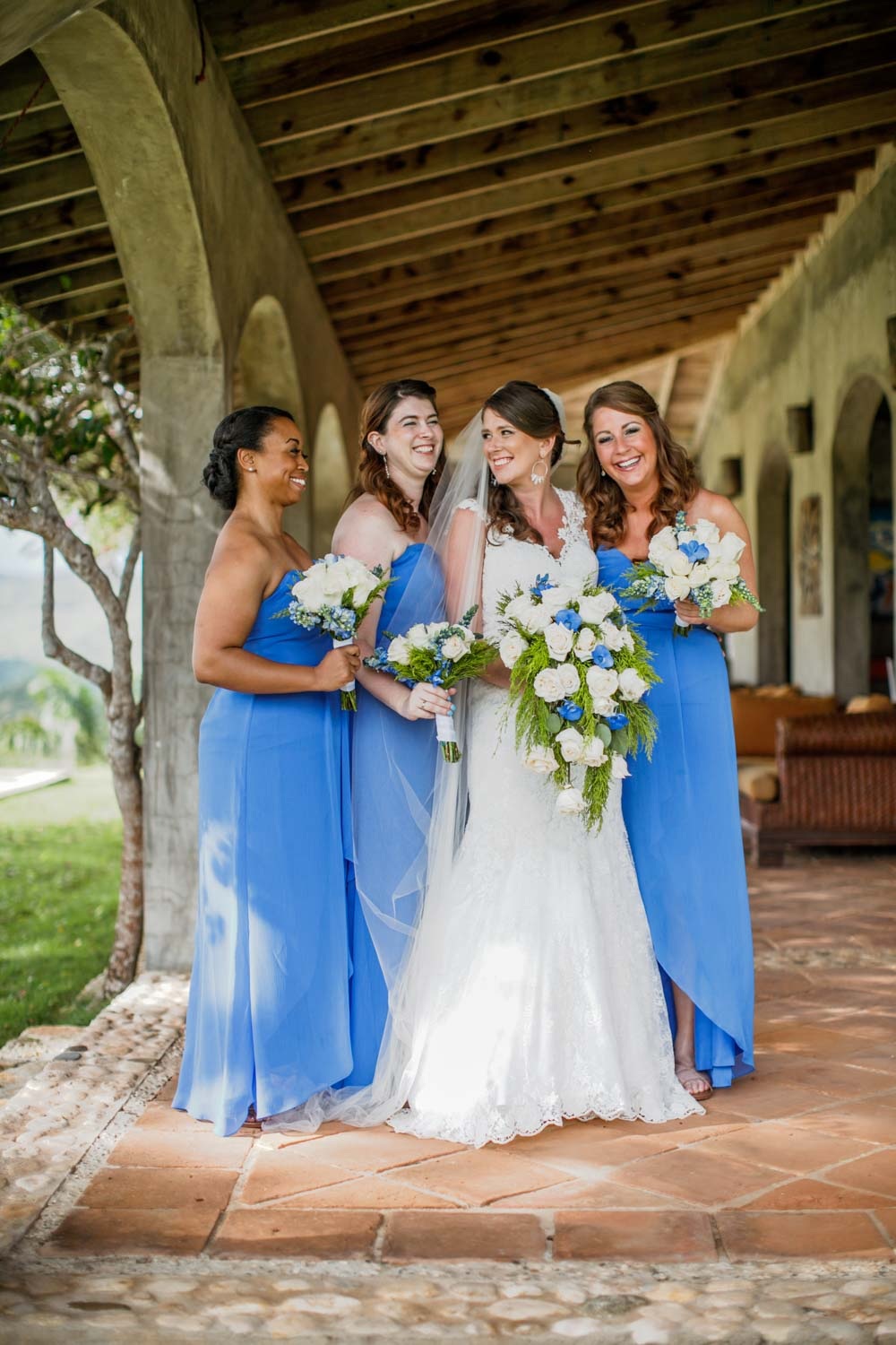 Wedding bridesmaids pose for photo at Castle Club in Cabarete Dominican Republic