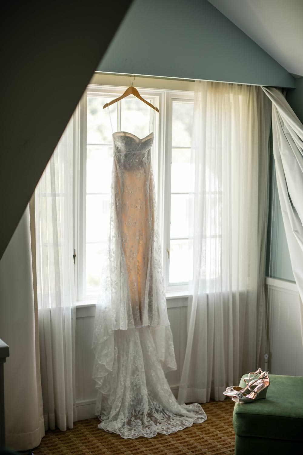 wedding dress hangs in widow of woodstock inn vermont