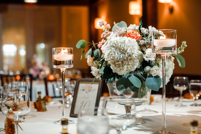 wedding table flower arrangement for woodstock inn reception