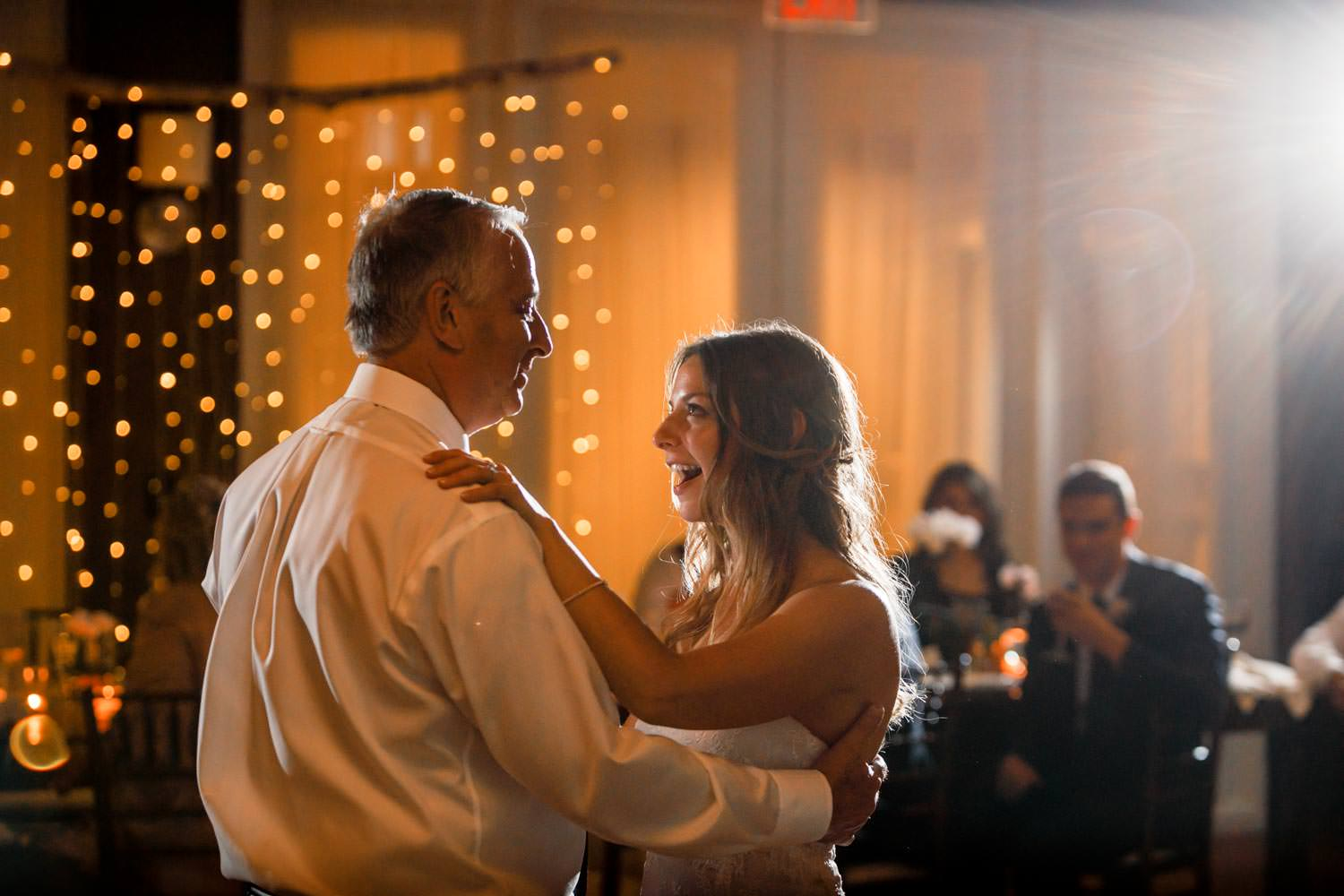 bride dances with father for formal wedding dance in woodstock inn ballroom
