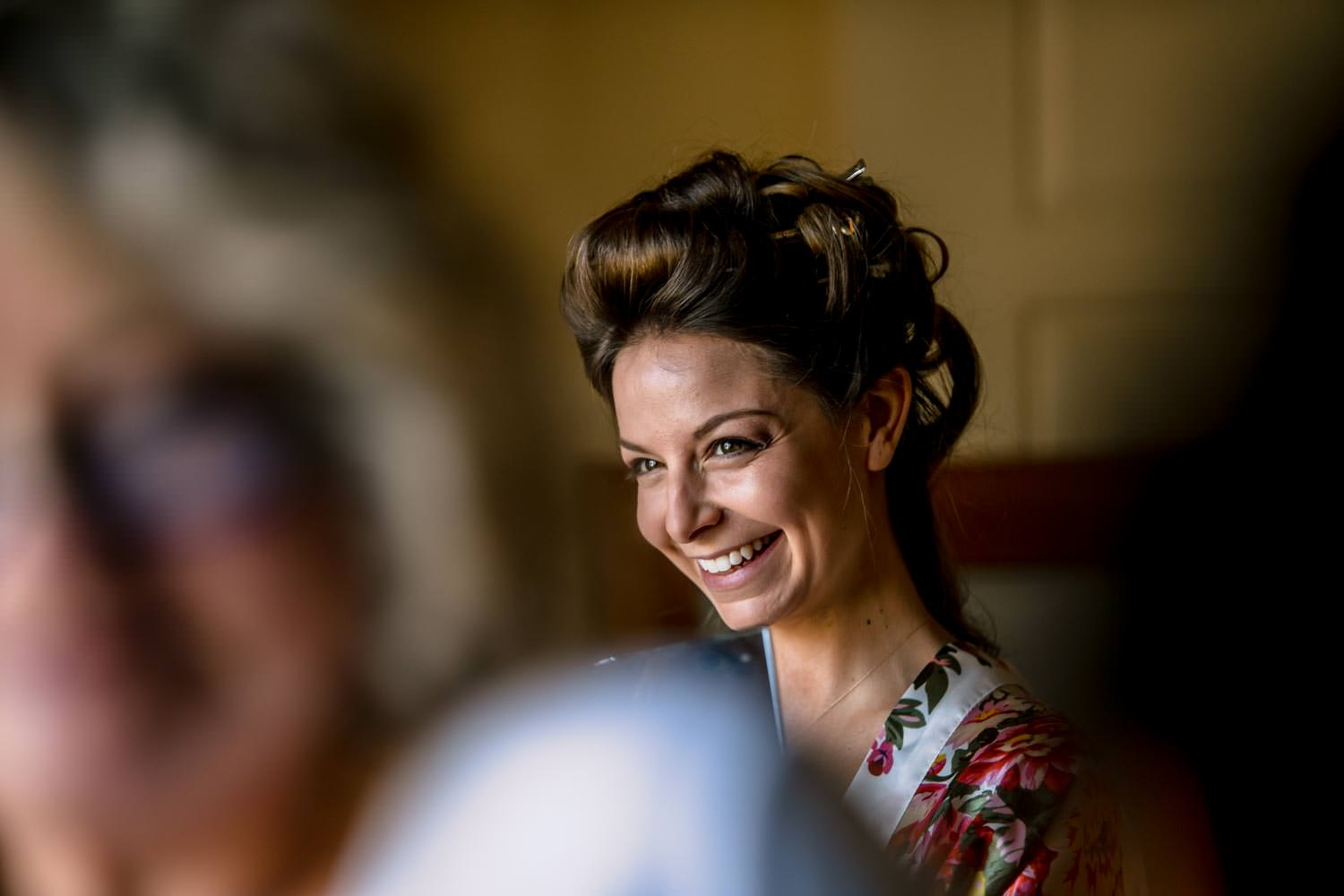 bride in curlers before her woodstock inn wedding